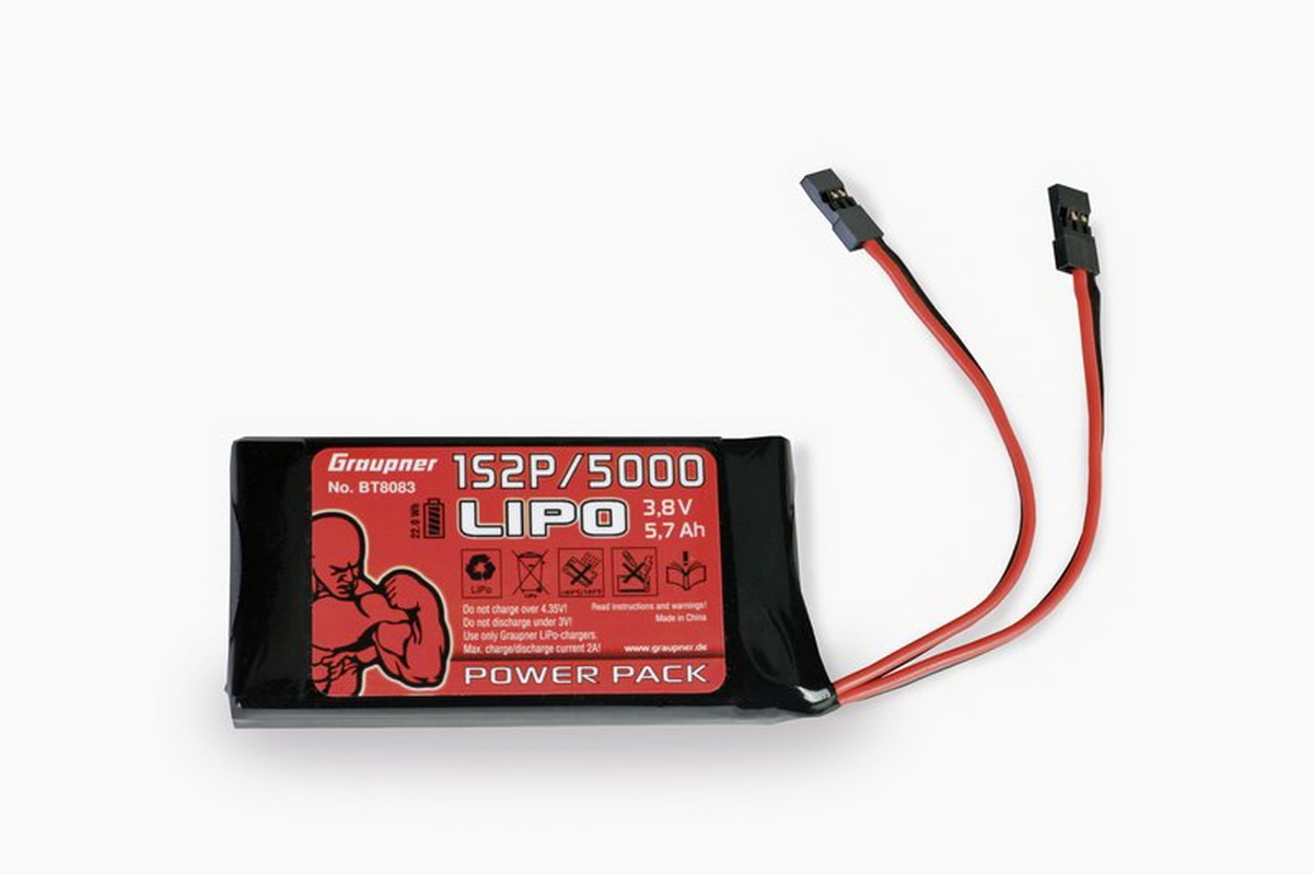 Senderakku LiPo 1S2P/5000 3,8 V TX 21Wh