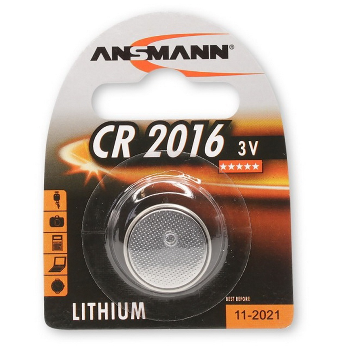 Knopfzelle Lithium CR 2016 3V - 90 mA